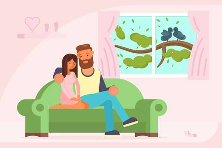 103947285-vector-illustration-of-young-couple-talking-to-each-other-while-sitting-on-sofa-in-living-room-flat-